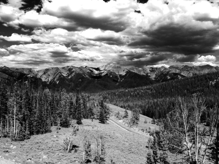black and white photo of mountains